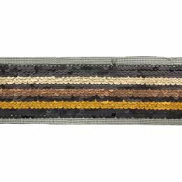 Ruban paillettes 3 bandes dégradé marron - 50 mm - 60