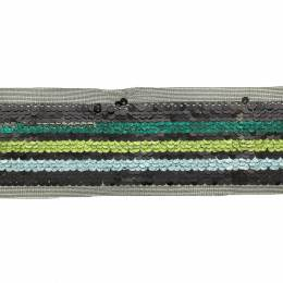 Ruban paillettes 3 bandes bleu - vert - 50 mm - 60