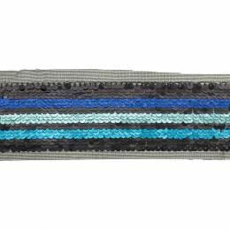 Ruban paillettes 3 bandes dégradé bleu - 50 mm - 60