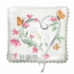 Coussin de mariage coeur en fleur - 64