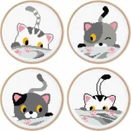 lot de 4 tableautins petits chats - 64