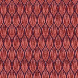 Tissu feuillage corail aubergine - 64