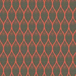 Tissu feuillage corail pétrole - 64