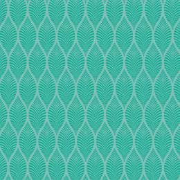 Tissu feuillage eau turquoise - 64