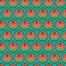 Tissu floral turquoise - 64