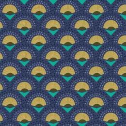 Tissu palmes marine - 64