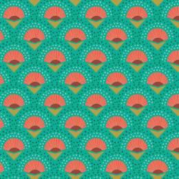 Tissu palmes turquoise - 64