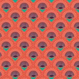 Tissu palmes corail - 64