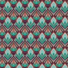 Tissu paon corail - 64