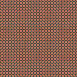 Tissu petite rosace corail pétrole - 64