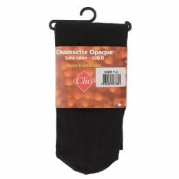 Chaussettes sans talon opaque t.u noir - 66