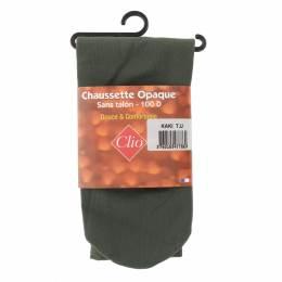 Chaussettes sans talon opaque t.u kaki - 66