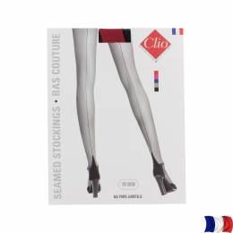 Bas couture bicolor porte jarretelle t1 noir/rouge - 66