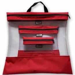 Pochettes transparentes gigognes rouge x3 - 70