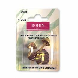 Patin rond pour sac + rondelle 15mm doré - 70