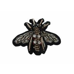 Bijou à coudre abeille brodee gris- 6x5 cm - 70