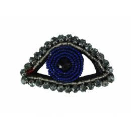 Bijou à coudre œil bleu fonce - 7 x 4 cm - 70