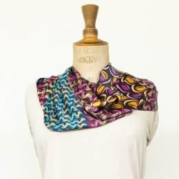 Écharpe satin imprimé violet-bleu 35x160 cm - 80