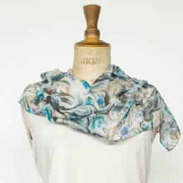 Écharpe étamine douce fleur bleu 35x160 cm - 80
