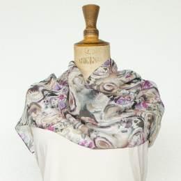 Écharpe étamine douce fleur violet 35x160 cm - 80