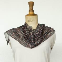 Écharpe voile imprimé cachemire noir 35x160 cm - 80