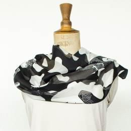 Écharpe bandes satin taches noir 35x160 cm - 80
