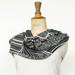 Écharpe bandes satin patchwork noir 35x160 cm - 80