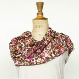 Écharpe bandes satin fleur rose 35x160 cm - 80