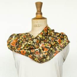 Écharpe bandes satin fleur orange 35x160 cm - 80