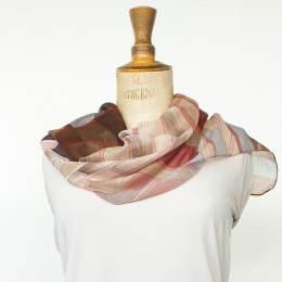 Écharpe étamine soft cubisme rose 35x160 cm - 80