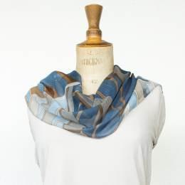 Écharpe étamine soft cubisme bleu 35x160 cm - 80