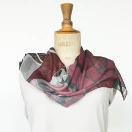 Écharpe étamine soft cubisme bordeaux 35x160 cm - 80
