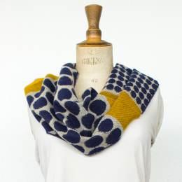 Écharpe rond tissé 15% laine moutarde 30x180 cm - 80