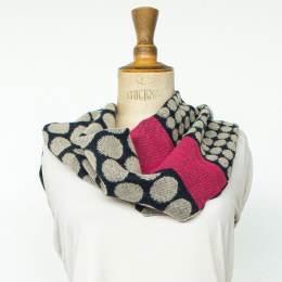 Écharpe rond tissé 15% laine fuschia 30x180 cm - 80