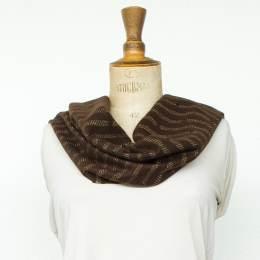 Écharpe lurex pois 15% laine marron f. 30x180 cm - 80