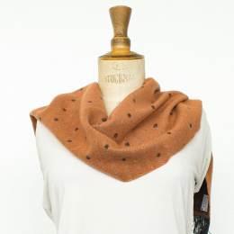Écharpe lurex pois 15% laine marron cl 30x180 cm - 80