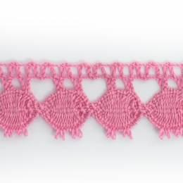 Dentelle 100 % coton rose clair - 2,2 cm