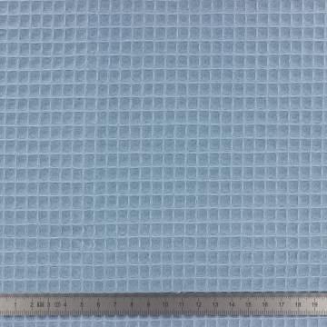 Tissu éponge en nid d'abeille bio bleu paon - 401