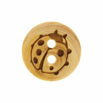 Bouton coccinelle gravée en bois - 408